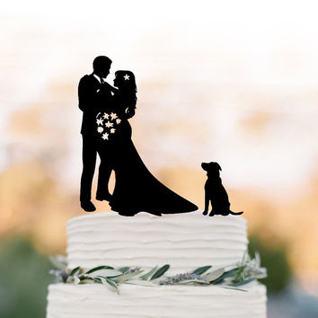 Bride and groom silhouette Wedding Cake topper with dog, custom dog cake topper for wedding, silhouette cake topper