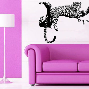 Cheetah Wall Decals Leopard Relaxing On A Tree Wild Animals Vinyl Decal Sticker Living Room Decor Art Mural Kids Room Interior Design KG869