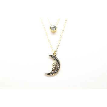 Crescent New Moon with Face Gold Plated Double Necklace with Cubic Zirconia