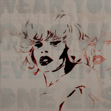 Amanda Lepore Club Kid Goddess 12 x 12 Original Portrait Painting of Rave 90s Icon Living Doll NYC Fashion Street Art Graffiti Drag Race
