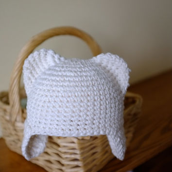 Teddy Bear Baby Hat with Ears Unisex Newborn Boy Girl Hat Photography Props Neutral Colour Crochet Cotton Hat New Baby Gift Idea Mila Hats
