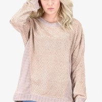 Oversized Soft Knit + Side Contrast Sweater {Taupe}