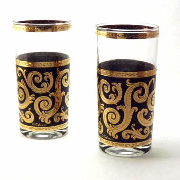 Stunning Black and Gold Drinking Glasses, Set of 2 Swirled Textured Bar Tumblers, Vintage High Ball Glasses, 6 Available