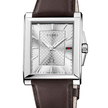 Gucci Mens Stainless Steel Square Watch with Leather Strap