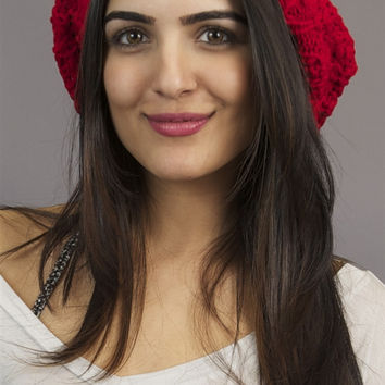 Kinkate Slouchy Beret Crochet Pattern Hat in Red