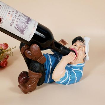 Creative Cartoon Sailor Bibber Figure Resin Wine Rack Multifuction Wine Stand Bottle Holder Table Ornament Home Decor (Size: Bib