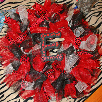 Turquoise or Red Leopard Print Wreath w/ Initial Full Size not a MINI