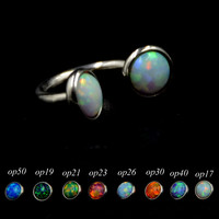 BOG-16g Stainless Steel Opal Stone Internally Thread Horseshoe Capative Bead Ring Piercing Jewelry Lot Of 1 Pcs