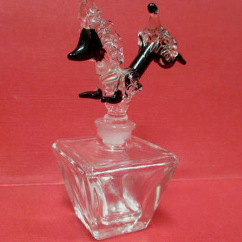 Vintage Irice Poodle Perfume Bottle Hand Blown Glass Stopper Leaping Dog Mid Century Japan  Rare