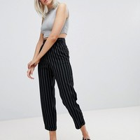 Pull&Bear Stripe High Waisted PANTS at asos.com
