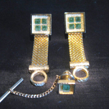 Jade Cufflinks Dante Tie Pin, Vintage Green Cuff Links Set Tac