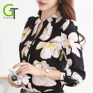 V-Neck Chiffon Blouses Slim Women Chiffon Blouse Office Work Wear Shirts Women Tops Plus Size Blouses