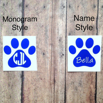 Round Monogram Paw Print Decal, Name Paw Print Decal, Laptop Sticker, Custom Vinyl Sticker, Personalized Decal