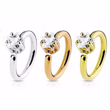 ac DCCKO2Q 1Pcs Fashion Stainless Steel Nose Hoop Ring Shellhard Small Thin Star Crystal Rhinestone Nose Rings For Women Body Jewelry