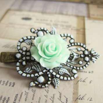 Hair Clip Mint Flower Clip Mint Green Floral Wedding Hair Clip Children Hair Accessories Little Girl Hair Clip Sisters Bridesmaid Gift