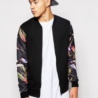 ASOS Bomber Jacket In Jersey With Floral Mesh Sleeves