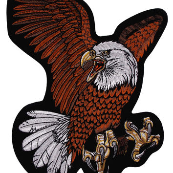Flying Screaming Eagle Patch Embroidered Motorcycle Rider Biker Jacket Large 12""