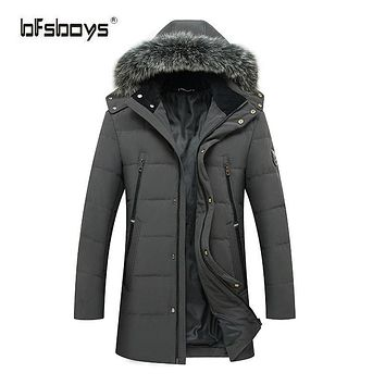 BFSBOYS 90% Off Men' s Duck Down Jackets With Fur Collar Casual Long Jacket High Quality Duck Down For Male Zipper Coat M-3XL