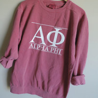 New Alpha Phi Comfort Colors Stripe Crewneck Sweatshirt // Size Small-2XL