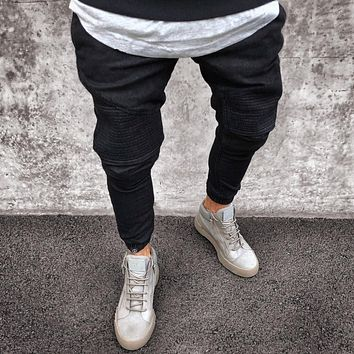 Men Distressed pleated skinny biker Denim jeans