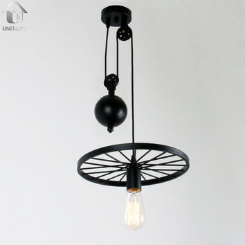 Black Vintage  Metal Wheel Hanging Ceiling Pulley Pendant Light