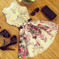 Hollow out printed dress