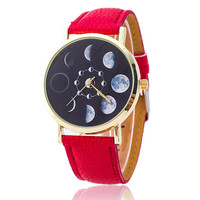Moon Phase Astronomy Space Leather Wrist Watch