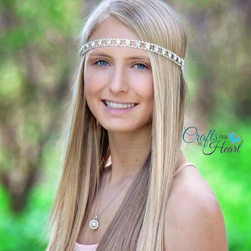 Rhinestone Boho Headband - Bridal Rhinestone Headband - Wedding Headband - Dressy Headband - Elegant Headband - Bride Headband - Wedding
