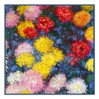 Chrysanthemum Detail #1 inspired by Claude Monet's impressionist painting Counted Cross Stitch or Counted Needlepoint Pattern