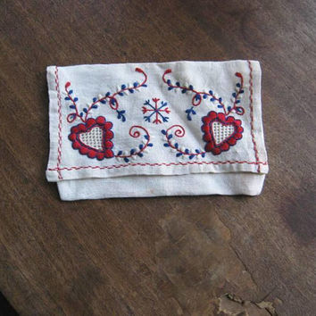 4 Folkloric Linens; Antique Blue Border & Dancing Folk Couple Dish Towels; Heart Embroidered Stocking/Clothespin Bag; U.S. Shipping Included