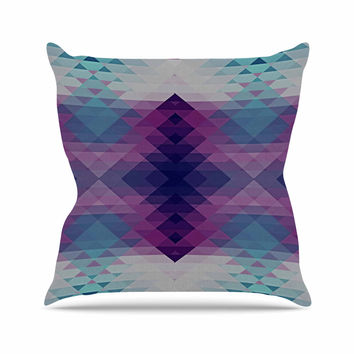"Nika Martinez ""Hipsterland II"" Purple Teal Outdoor Throw Pillow"
