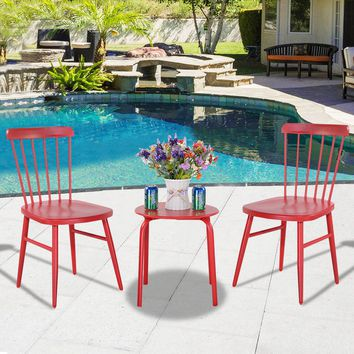 3Pcs Outdoor Bistro Round Table Chair Furniture Set Garden Lawn Coffee Table