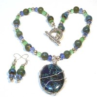 Blue Green Gemstone Necklace