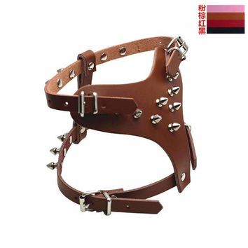 Fashion Adjustable Spike Studded Rivet PU Leather Dog Chest Strap Harness Collar Leash for Bulldog Pitbull Mastiff Terrier