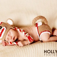 Crochet Red Sock Monkey Hat And Diaper Cover Set Newborn Photography Prop | Luulla