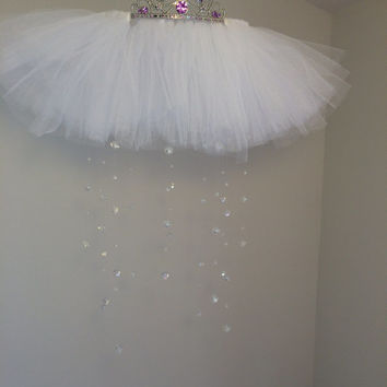 crystal baby mobile, princess mobile, princess decor, tutu mobile, baby mobile,  tiara mobile, purple baby mobile, gemstone baby mobile