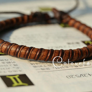 Christmas Gift, Popular trend Tiny Style Nature Brown Leather Braid Woven Stylish Adjustable Wrap Bracelet W-82