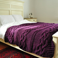 IN STOCK: Throw Chunky Cable Knit Throw Blanket in Deep PlumbCabled Wool Hand Knitted Blanket