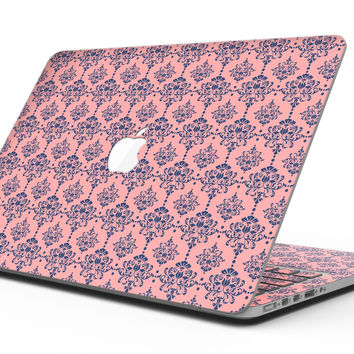 Coral and Navy Damask Pattern - MacBook Pro with Retina Display Full-Coverage Skin Kit