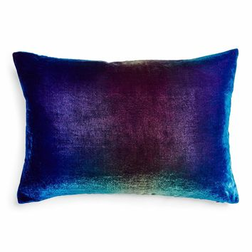 Kevin O'Brien Ombre Velvet Pillow Peacock