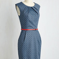 Teaching Classy Sheath Dress in Navy Dots | Mod Retro Vintage Dresses | ModCloth.com