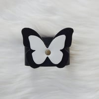 Black and white leather butterfly cuff bracelet Women leather cuff bracelet