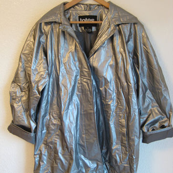 Vintage 1990's Galaxy Space Grunge Seapunk Cyber Futuristic Raincoat Jacket  Medium