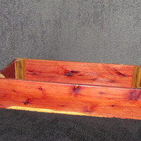 Truly hand crafted shallow Cedar crate, natural wood urethane finished.