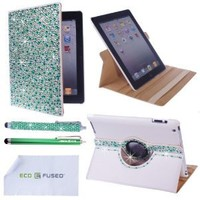 Eco-Fused 360 Rotating Faux Leather Bling Case Bundle for Apple iPad 4, 3, 2 / Bling Stylus Pen / Long Stylus Pen / Microfiber Cleaning Cloth / Cute Rhinestone Cover Perfect for Girls