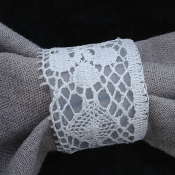 Wedding White Lace Napkin Rings, Vintage Lace Inspired Wedding, Country Wedding, set of 8