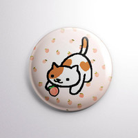 "NEKO ATSUME | Peaches the Cat | 1"" pinback button badge pin 