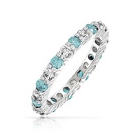 Bling Jewelry 925 Silver Aquamarine Color CZ March Birthstone Eternity Band Ring | Bling Jewelry