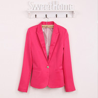 Spring OL Suit Blazer Women Blaser Femenino Candy Color One Button Women Blazers Coat Casual Fashion Slim Fit Blazer Jacket 2017