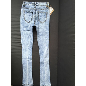 High waisted Vintage 90's Sky Blue Washed Ripped Shredded Jeans